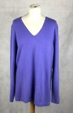 Evelyn Grace V-Neck Sweater in Purple in 100% Cashmere