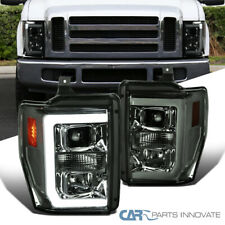 For 08-10 Ford F250 F350 F450 Super Duty Smoke LED Strip Projector Headlights
