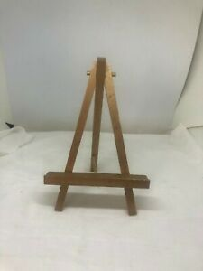 "Vintage Wood 3 Legged Easel Plate Picture Stand Holder Display 7 1/2"" x 5"" Wide"