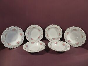 ROYAL ALBERT TRANQUILITY PATTERN, SET OF SIX RIMMED SOUP/PASTA DISHES