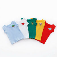Toddler Kids Girls Cartoon Casual Solid Color Sleeveless Vest Top Clothes Blouse