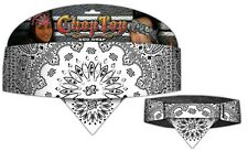 White Black Rhinestones Paisley Chop Top Bandanna Head Wrap Sweatband Headband