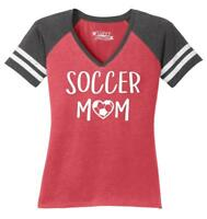 Ladies Soccer Mom Game V-Neck Tee Mother Sports Shirt