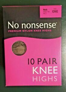 No Nonsense Nylon Knee Highs Nude Size One Sheer Toe 10 Pairs Box (*)