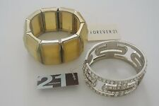 FOREVER 21 Gold-tone & 21 Silver-tone with Crystals Bangles, 2 pcs.