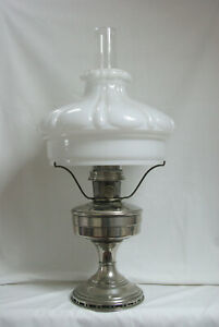 Complete Aladdin Model 12 nickel-plated oil lamp in working order