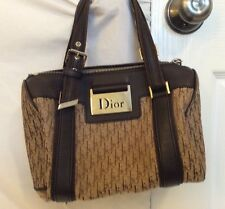 Dior Vintage Black Signature Monogram Canvas & Leather Hand Bag Silver Hardware