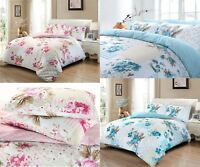 100% Cotton Rose Floral Duvet Cover Single Double Bed Linen Bedding Blue Pink