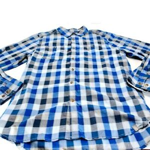 The North Face Mens Button Front Shirt Blue White Plaid Long Sleeve Pocket L