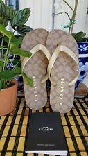 COACH Women's Zak Flip Flop KHAKI/GOLD Size 8  NEW