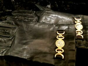 Vintage Black Leather Gloves Size 7 Made In Italy Silk Lining Women's Gold Mount