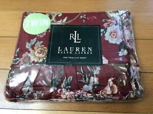 Ralph Lauren Danielle Marseilles Floral Red Twin Flat Sheet Ruffle NEW