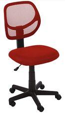 Low Back, Upholstered Mesh, Adjustable, Swivel Computer Office Desk Chair, RED