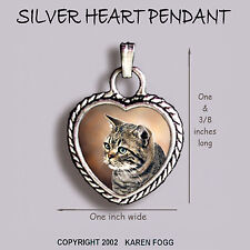 Tabby American Shorthair Striped Cat - Ornate Heart Pendant Tibetan Silver