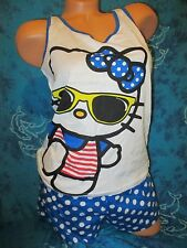 nwt Hello Kitty Cat Blue White Polka Dot Sleep Shorts Panties Cami Set Pajamas L