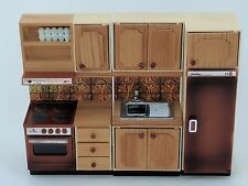 Lundby Continental Kitchen BROWN Dolls House Furniture Vintage Cooker Fridge etc