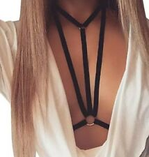UK BNWT black body harness deep V plunge cutout backless bralette bra L 12 14 36