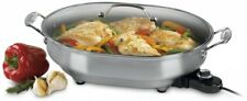 Electric Skillet 12 in. x 15 in. Oval Non-Stick Surface Stainless Steel Finish