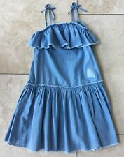 BNWT M&S blue denim/cotton Strappy Knee length frill sun dress 8-9yrs RRP £18