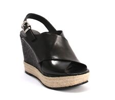 Laura Bellariva 6143 Black Leather Espadrille Wedge Sandals 39 / US 9