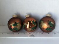 Vintage Bronze Glass Ball Ornaments with Painted Holly & Gold Glitter Ribbon Lot