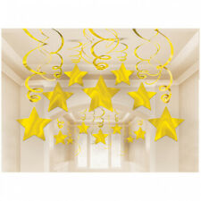 30 Gold Hanging Swirl Shooting Star Hollywood Party Ceiling Decorations