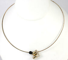 Vintage Denmark Sterling Silver Gold Vermeil Onyx Bead Arrow Necklace Signed