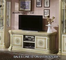 The versace Design Italian Rossella Large Plazma TV Cabinet Beige/Gold Classic
