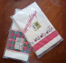Two Vintage PAPER TABLECLOTHS cream color red green Xmas table cover poinsettia