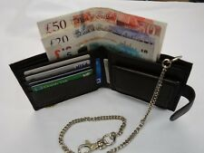 Gents Soft Leather Wallet with Security Chain RFID PROOF Brown