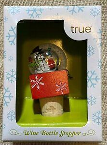 True Fabrications Celebrate the Season-Snowman Water Globe Wine/Bottle Stopper