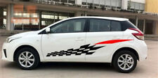 2Pcs Car Black+Red Vinyl Decal Sticker Sports Racing Race lattice Waist Decals