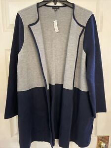 NWT Talbots Women Sze 2X Merino Wool Open Cardigan Navy Blue & Gray