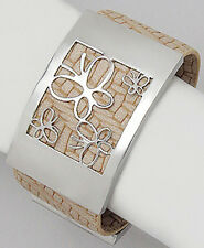 Stylish Light Brown Genuine Leather Butterfly 33mm Wide Cuff Bracelet Stainless