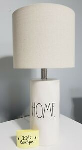 NEW Rae Dunn 2021 LL 'HOME' Ceramic Cylinder Table Lamp Light White w/ Shade