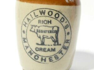 """Red Top Hailwoods Manchester Stoneware Pictorial COW Cream Pot 3"""""""