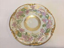 "Antique Jean Pouyat Limoges Gold Rim Hibiscus Pattern Plate, 6 1/4"" Diameter"