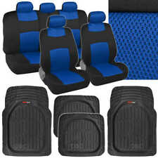 4 Pc Deep Dish Rubber Mats- 9 Pc Sporty Spacer Mesh Blue Cloth Car Seat Covers