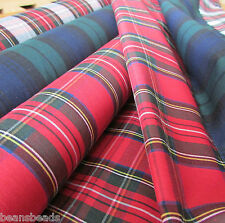 "Tartan poly cotton fabric for sewing & craft - 44"" wide per half m colour choice"