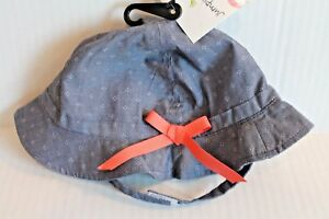 Jumping Beans Blue Swiss Dot Sun Hat Infant Baby Girl Size 0-6 Months NEW