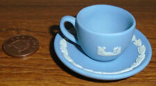 Wedgwood Blue Jasper Miniature Cup & Saucer - Decorative Pottery - A1 Condition