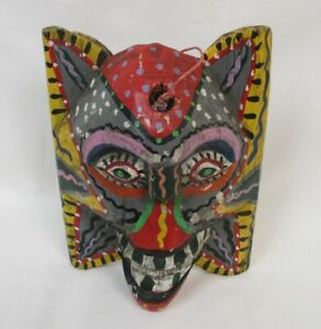 Hand Carved Painted Wood Mask Indonesia Folk Art Bali Wall Decor Sculpture