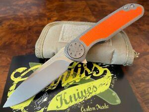 Curtiss Knives Warhawk 325 M390 Steel Contoured Titanium Orange Inlay