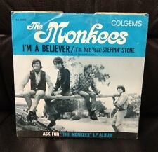 """Vintage The Monkees 45 Picture Sleeve """"Steppin' Stone, I'm A Believer"""", Colgems"""