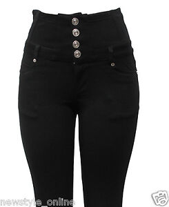 LADIES WOMEN'S BLACK HIGH WAIST FOUR BUTTON STRETCHY JEANS JEGGINGS SIZE 8-16