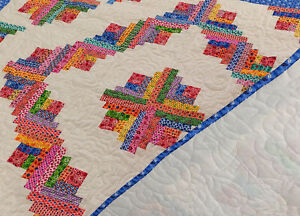 Patchwork Scraps Barn Raising Log Cabin - Twin size FINISHED QUILT