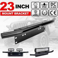"""23"""" Bull Bar Front Bumper License Plate Holder Mount Bracket LED Lights Offroad"""
