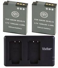 BM EN-EL12 2X Batteries & Dual Charger for Nikon KeyMission 170, KeyMission 360