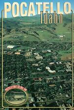 Aerial View of Pocatello Idaho, Home of ID State University, Car etc -- Postcard