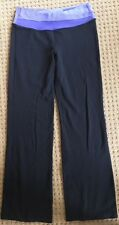 LULULEMON ASTRO PANTS Black w Purple Lilac Stripe sz 8 Yoga Gym Spin Lounge EUC